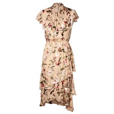 Alice + Olivia Size 4 Tan Floral Dress