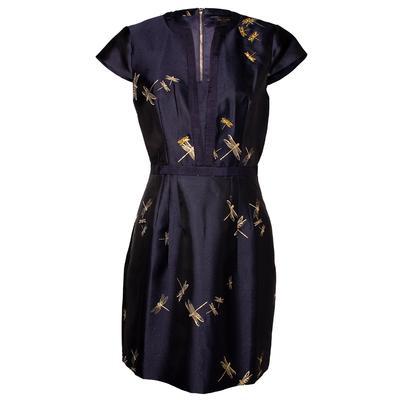 Ted Baker Size Medium Navy Dragonfly Dress