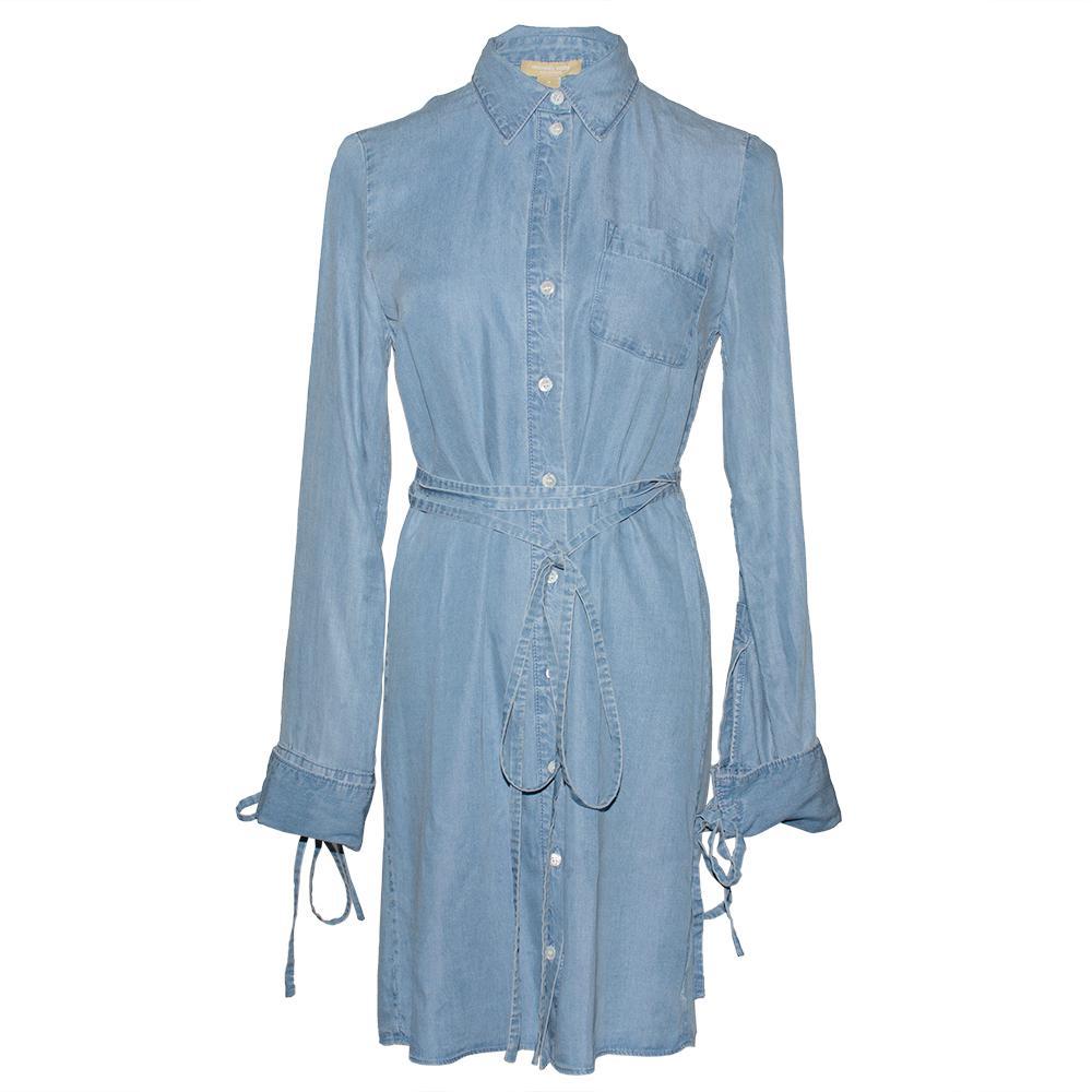 Michael Kors Size 2 Blue Chambray Shirt Dress