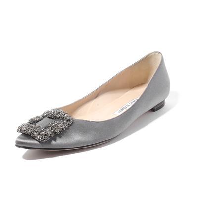 Manolo Blahnik Size 37.5 Satin Jeweled Flats