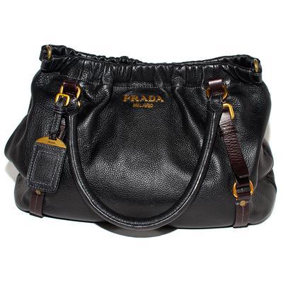 Prada Vintage Black Pebbled Leather Tote Bag