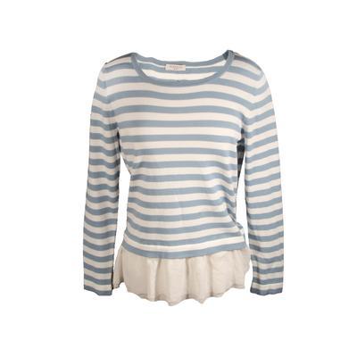 Perserico Size 42 Longsleeve Striped Peplum Shirt