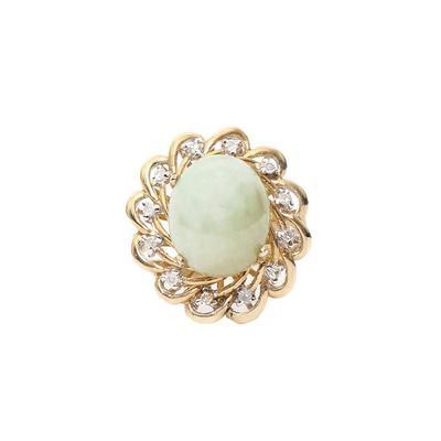 Size 9 14k Jade + Diamond Ring