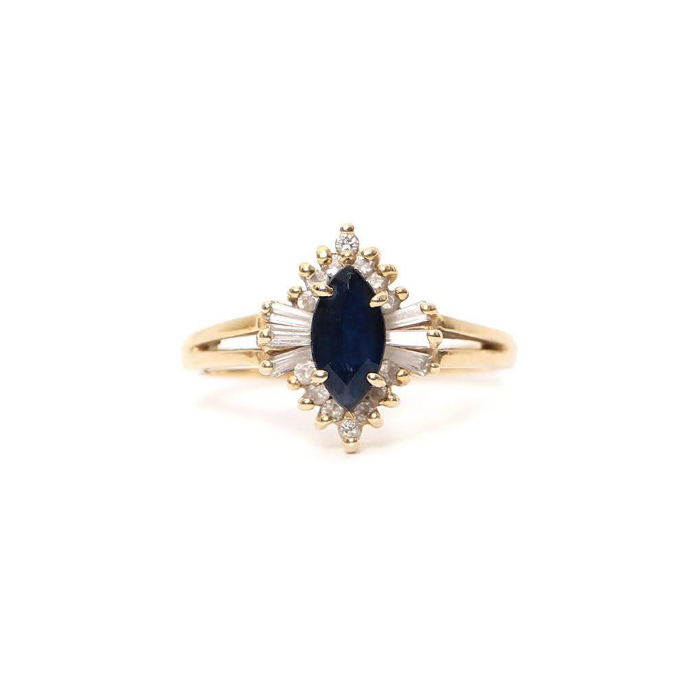 Size 7.5 14k Diamond + Sapphire Ring