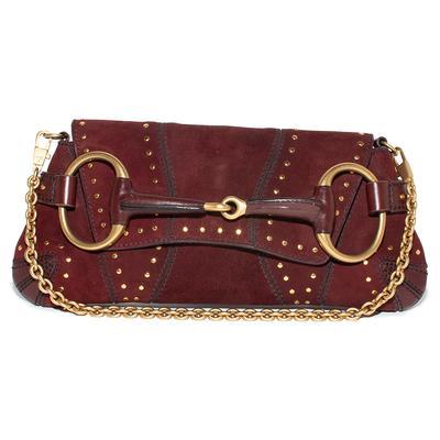 Gucci Burgundy Suede Horsebit Studded Chain Handbag