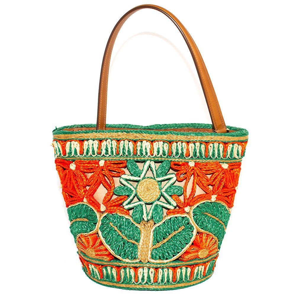 Dolce & Gabbana Woven Straw Bucket Shoulder Bag