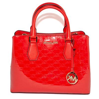 Michael Kors Red Logo Monogram Patent Leather Satchel