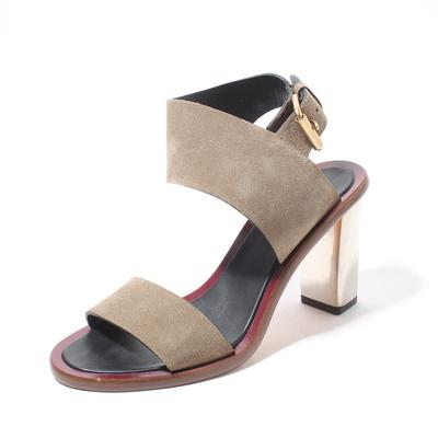 Celine Size 37 Suede Strap Silver Metal Heel