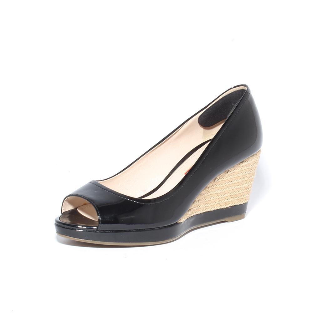 Prada Size 36.5 Woven Jute Wedge Patent Leather Peeptoe