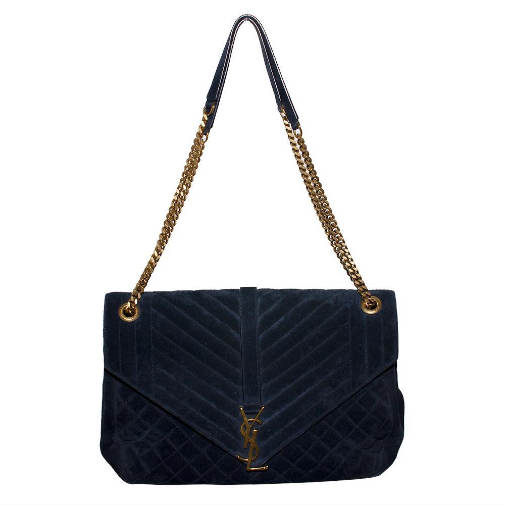 Saint Laurent Size Medium Navy Suede Matelasse Handbag