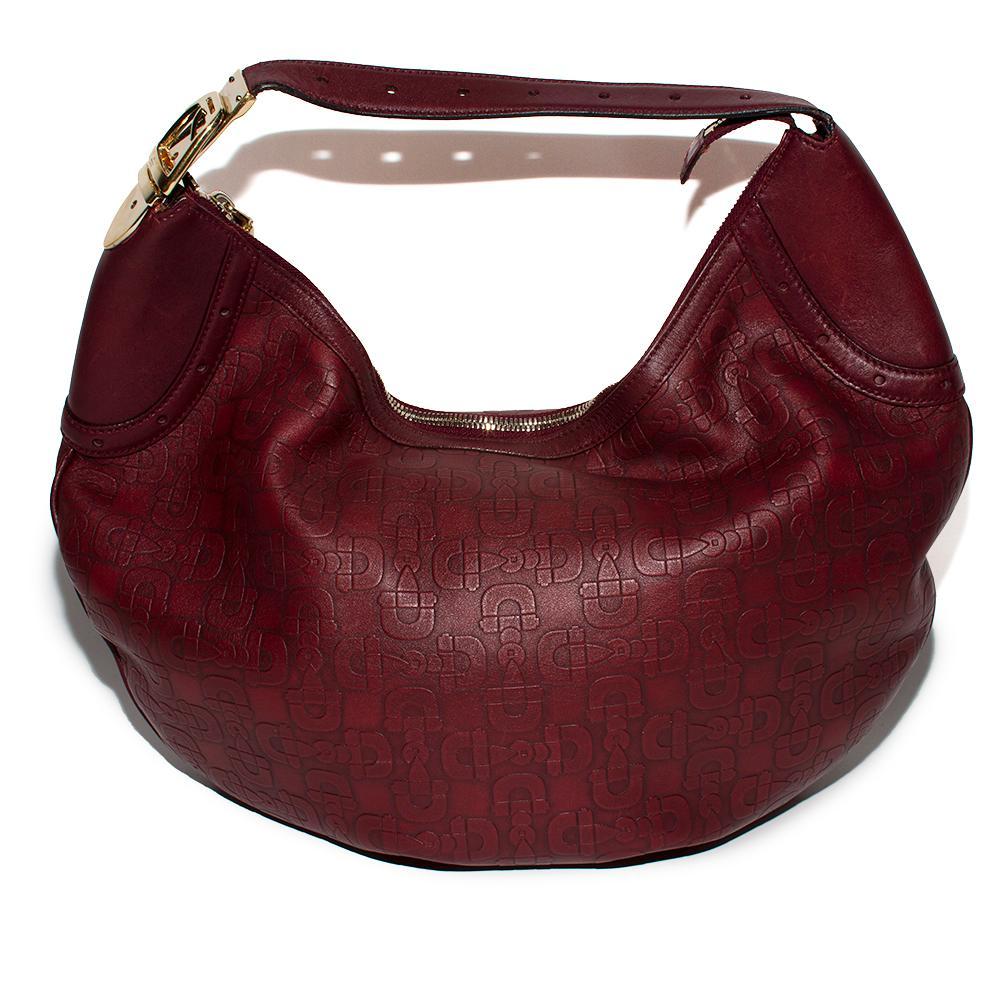 Gucci Burgundy Embossed Leather Horsebit Hobo Bag