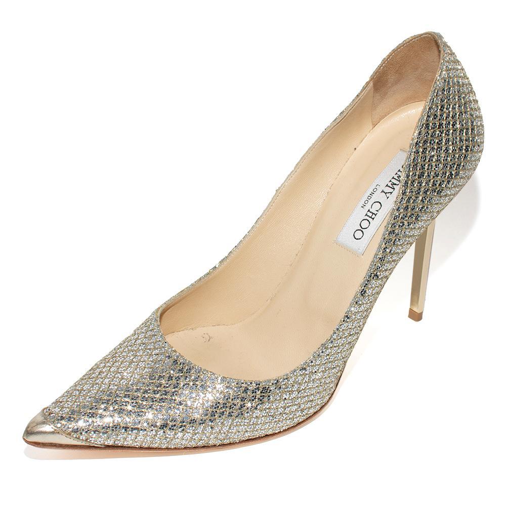 Jimmy Choo Size 39.5 Silver Glitter Fabric Romy Heels
