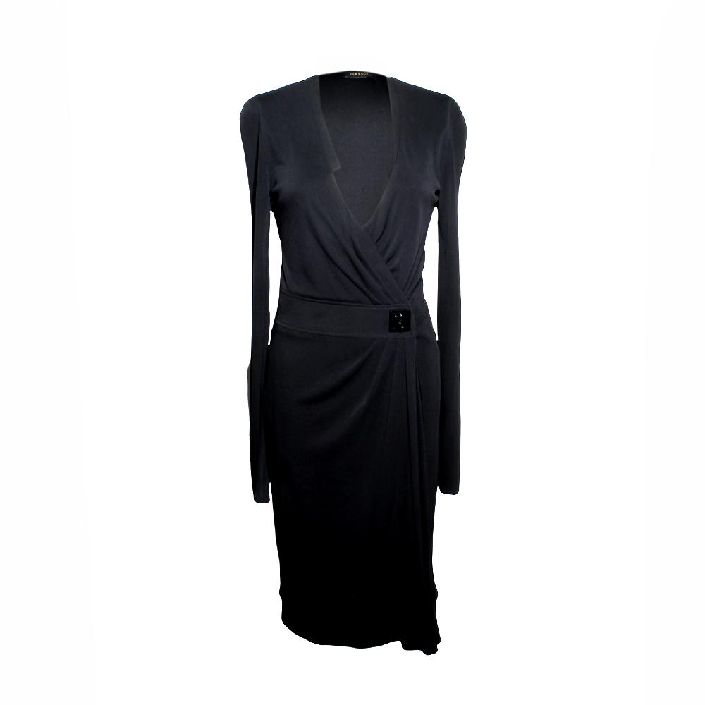 Versace Size 44 Black Wrap Long Sleeve Dress