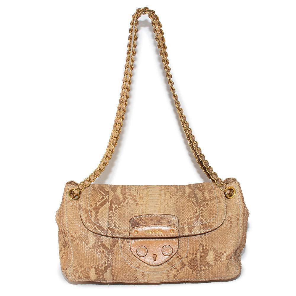 Prada Tan Python Leather Shoulder Bag