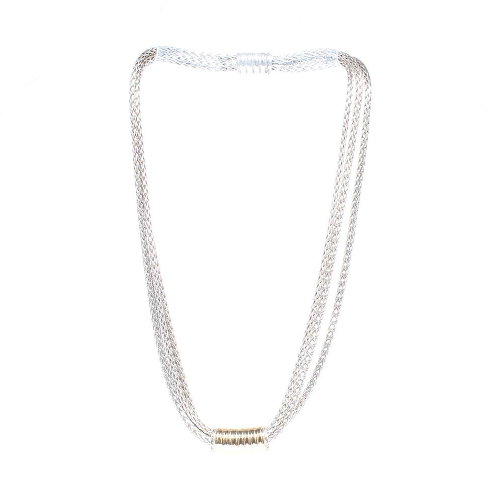 John Hardy Sterling Silver, 18k Gold, Triple Strand, Slide Pendant Necklace