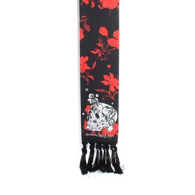 Alexander McQueen Rose/Butterfly Print Tassel Scarf