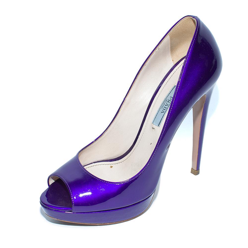Prada Size 38 Iridescent Purple Patent Peep Toe Heels