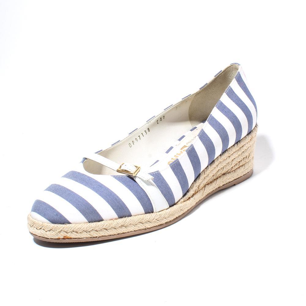 Salvatore Ferragamo Stripe Wedge Shoes