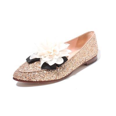 Kate Spade Size 7 Glitter Pointed Silk Flower Flat