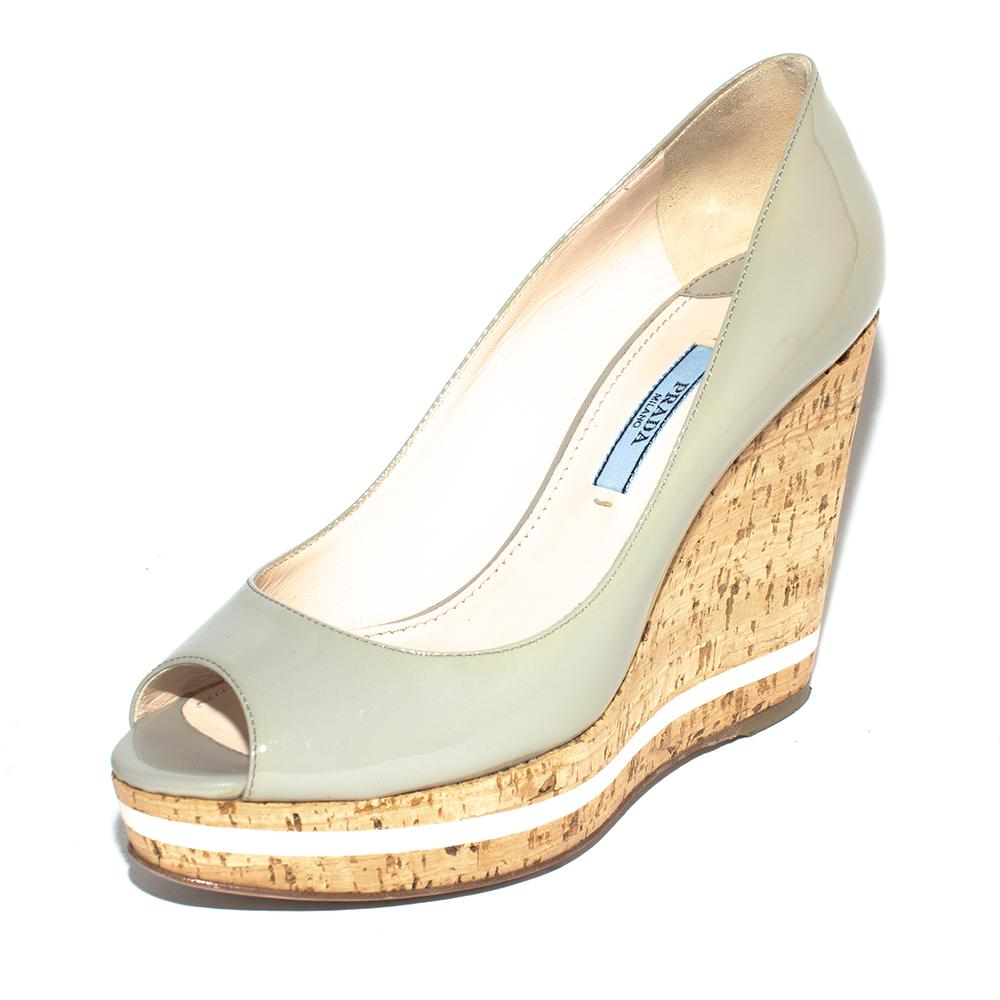 Prada Size 36.5 Grey Patent Peep Toe Cork Wedges