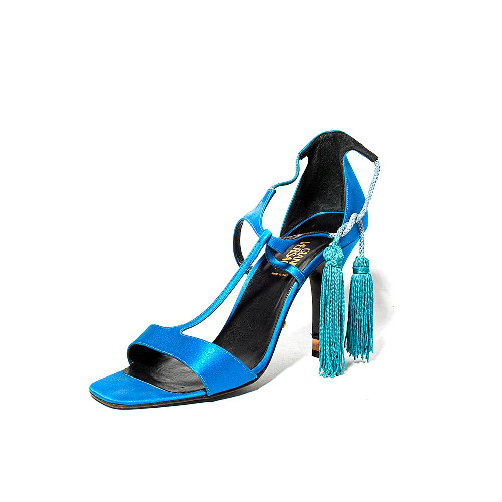 Versace Size 39 Satin Blue Heels