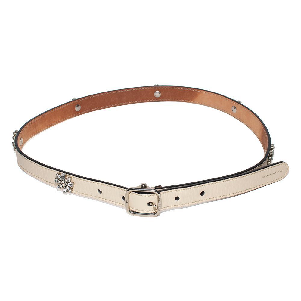 Burberry Size 6 Tan Leather Crystal Embellished Daisy Slim Belt