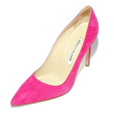 Manolo Blahnik Size 36.5 Pink Suede 105MM Point High Heels