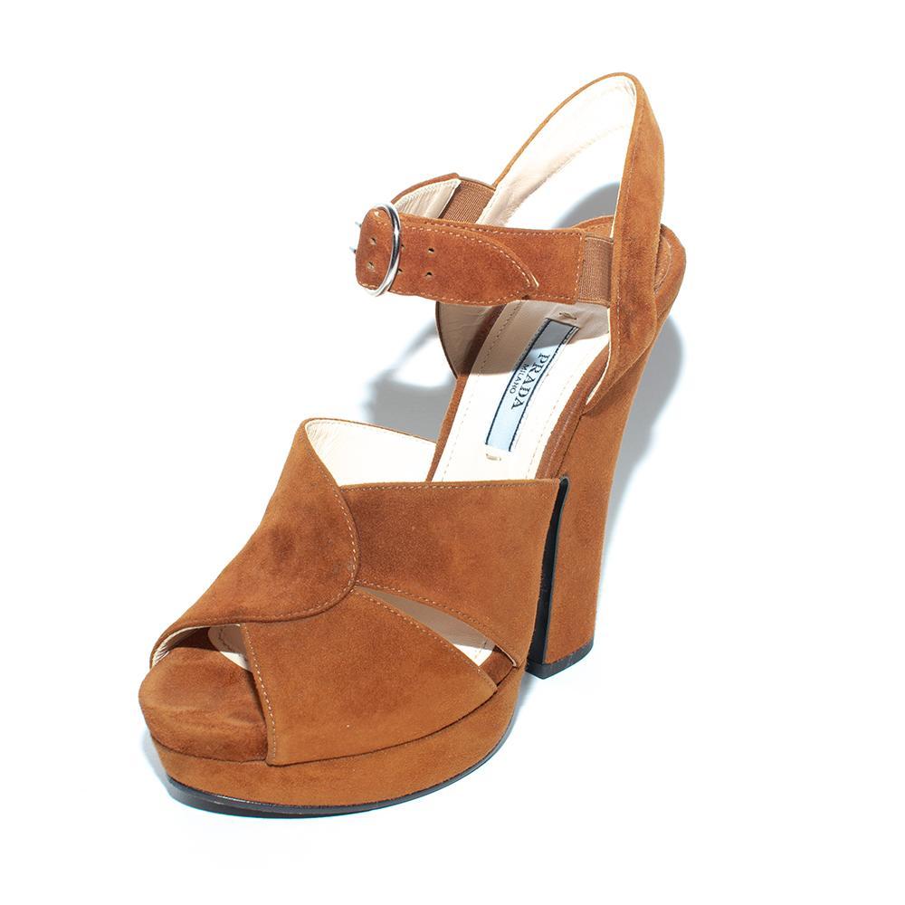 Prada Size 36 Brown Suede Chunky Heels
