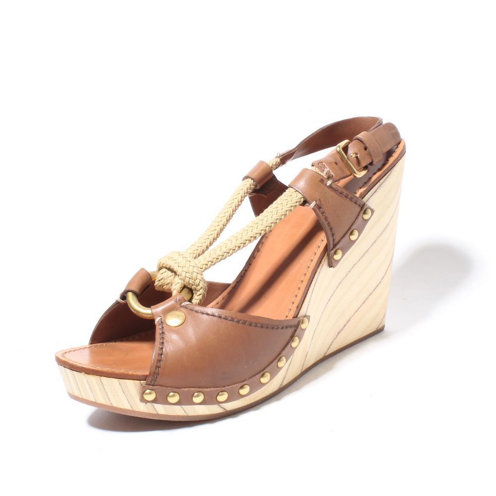 Miu Miu Size 39 Wooden Wedge Leather/Jute Upper