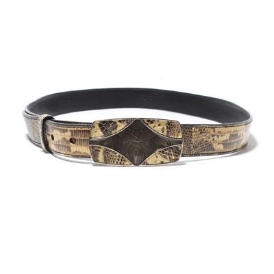 Prada Size Small/34 Snakeskin Tooled Buckle Thin Belt