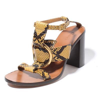 Chloe Rony Size 36 Snake Embossed Block Heel