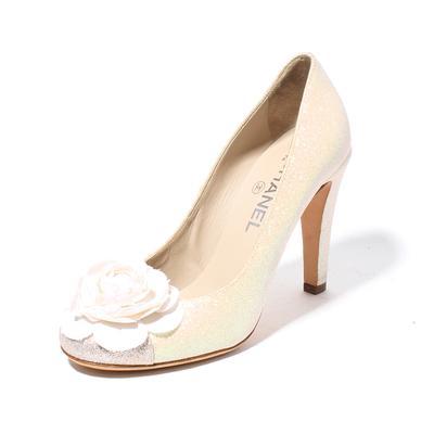 Chanel Size 38 Glitter Camellia Flower Pumps