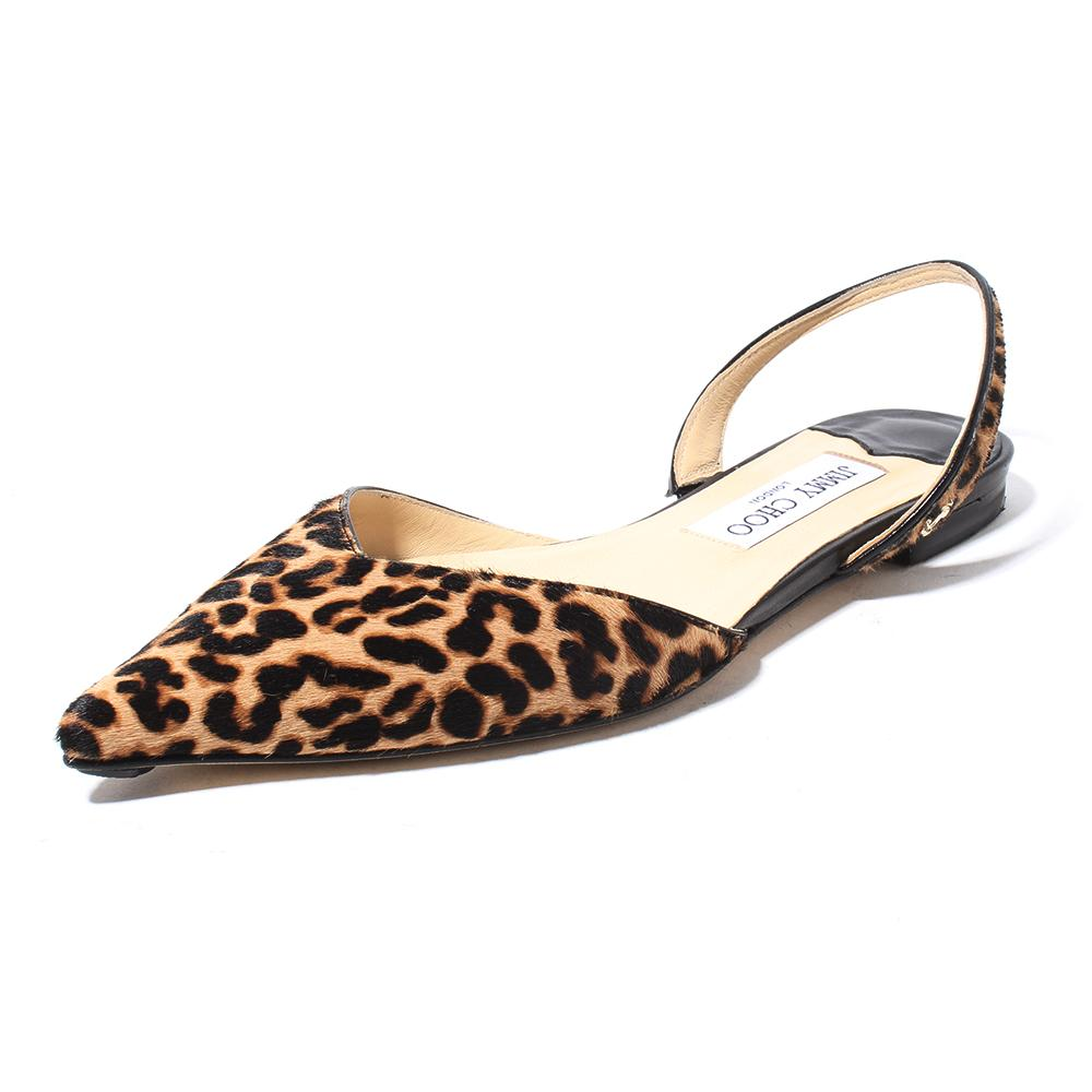 Jimmy Choo Size 37 Calf Hair Leopard Print Pointed Slingback