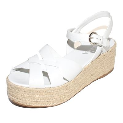 Prada Size 39 White Leather Platform Sandals