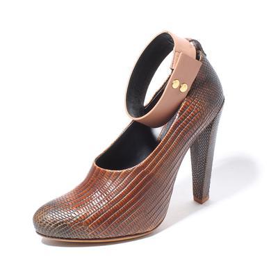 Celine Size 38.5 Lizard Embossed Ankle Heel