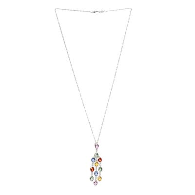 14KWG Sapphire Chandelier Necklace