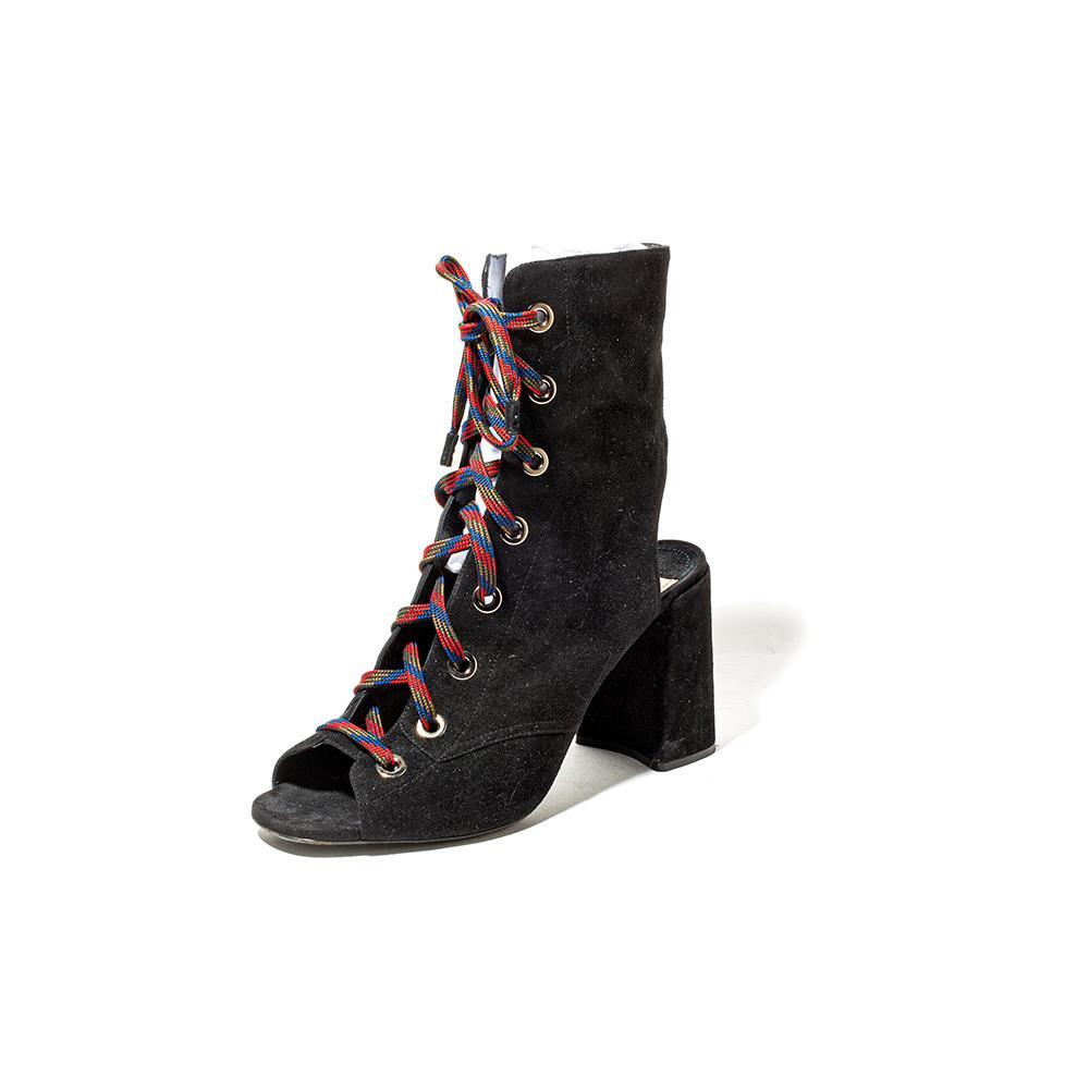 Prada Size 41 Open Toe Black Shoes