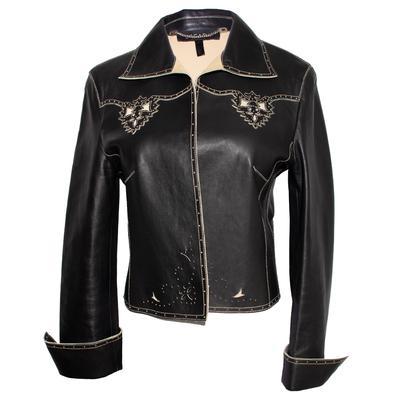 Escada Size 38 Black Leather Perforated Jacket