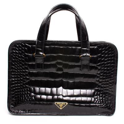 Prada Black Patent Croc Embossed Leather Handbag