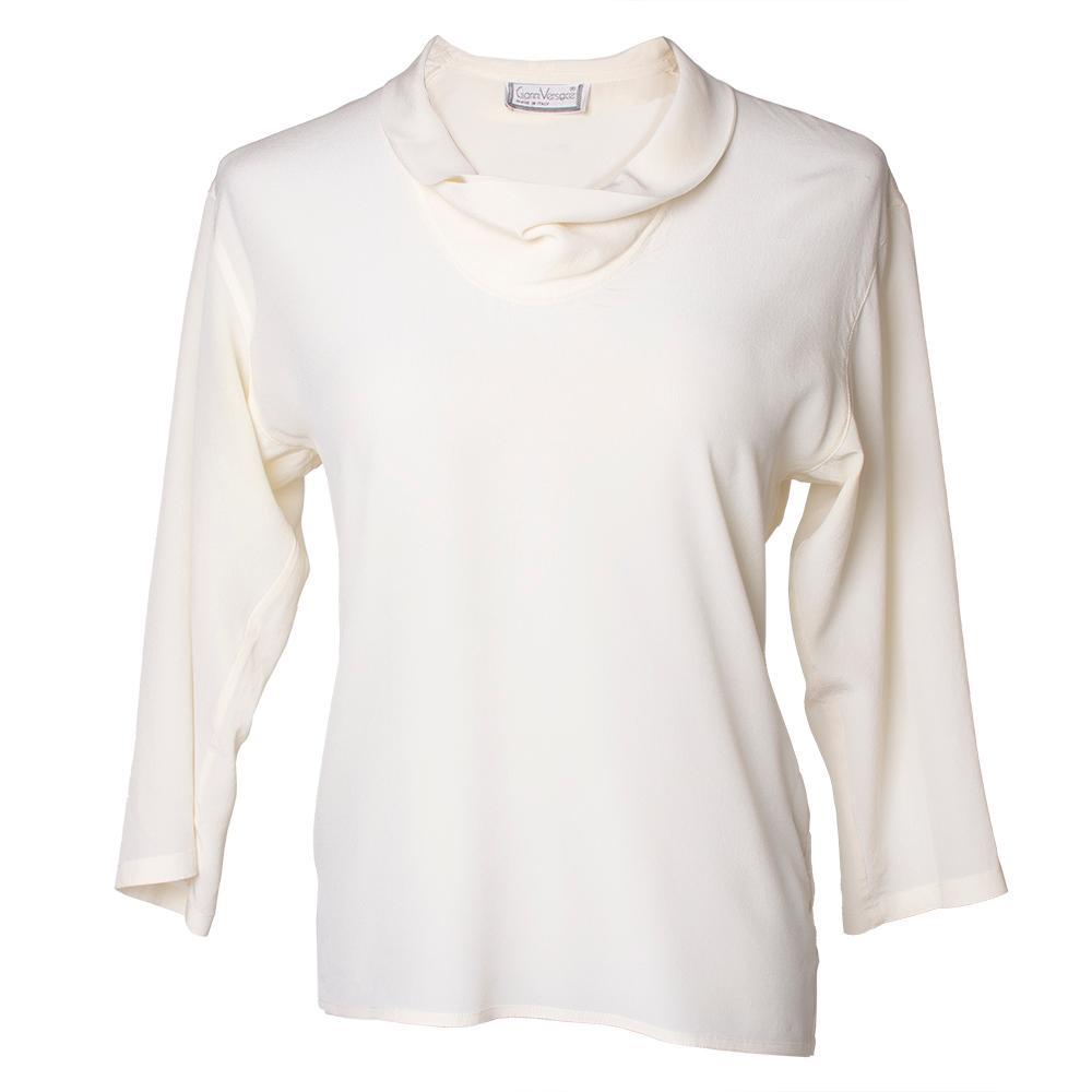 Versace Size 38 Vintage Off White Silk Blouse