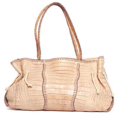 Fatto A Mano by Carlos Falchi Croc Embossed Leather Handbag