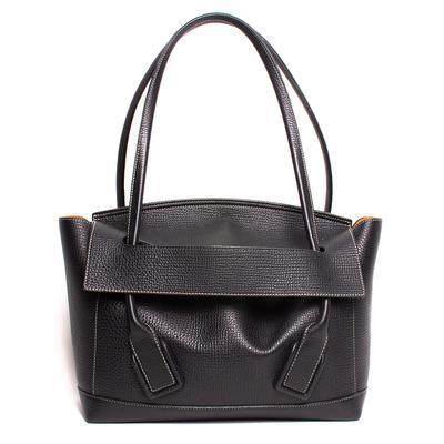 Bottega Veneta Black Pebbled Leather Arco Handbag