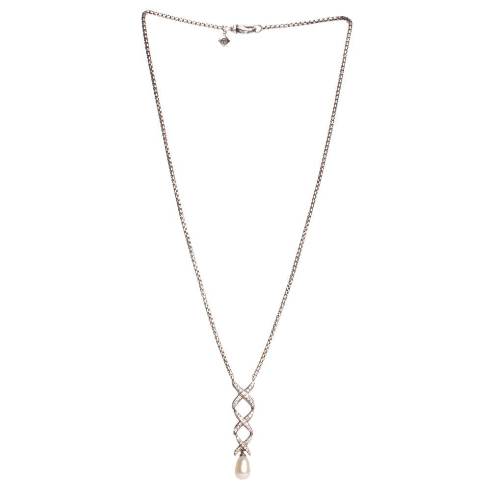 David Yurman Sterling Silver Diamond Pearl Necklace
