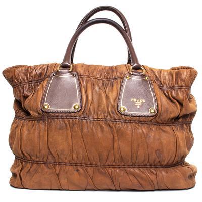 Prada Brown Ruched Leather Tote Bag