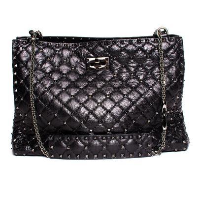 Valentino Black Leather Rockstud Spike Glazed Handbag