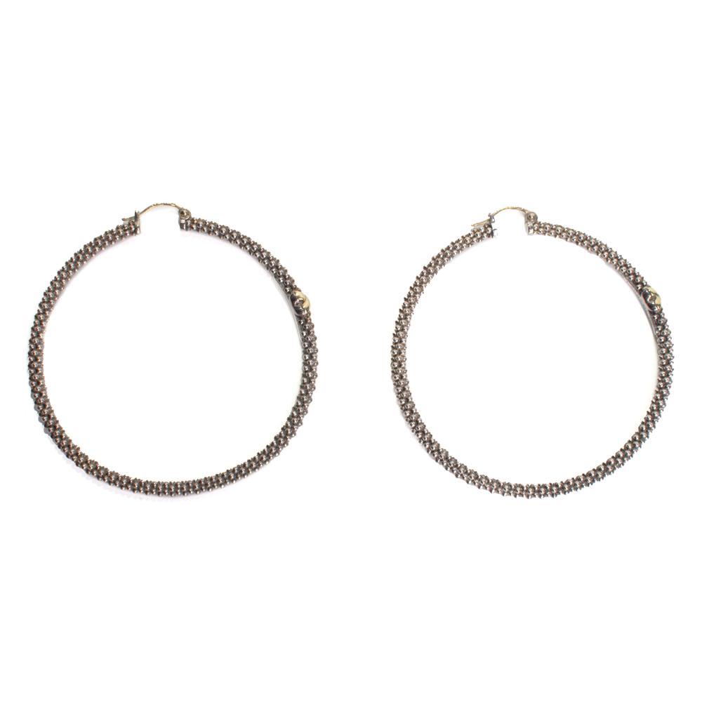 Lagos Sterling Silver 18k Yellow Gold Caviar X Hoop Earrings