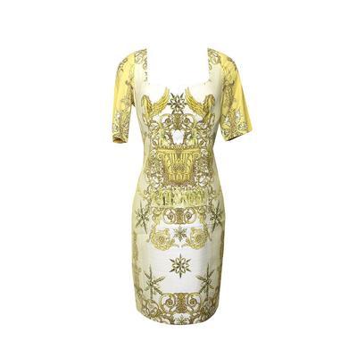 Versace Size Large Yellow Print Dress