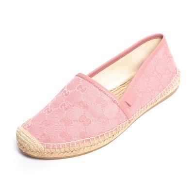 Gucci Size 38 Pink Canvas Monogram Espadrilles Flats