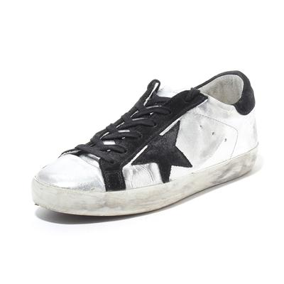 Golden Goose Size 37 Metallic Silver Superstar Sneaker