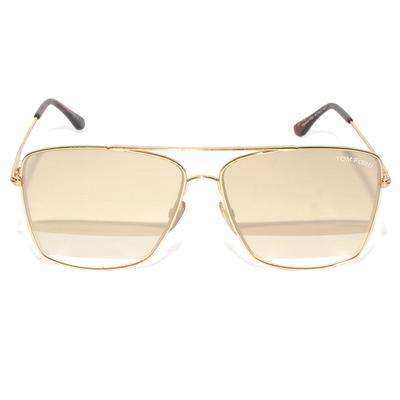Tom Ford Gold Magnus Square Aviator Sunglasses